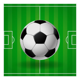 Soccer ball field illustration poster