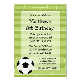 Soccer Ball Field Kids Birthday Party 5x7 Paper Invitation Card