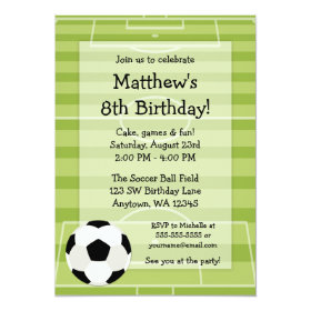 Soccer Ball Field Kids Birthday Party 5x7 Paper Invitation Card