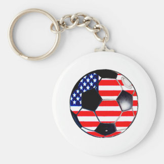 Soccer Ball Flag-USA The MUSEUM Gifts Transp Keychain