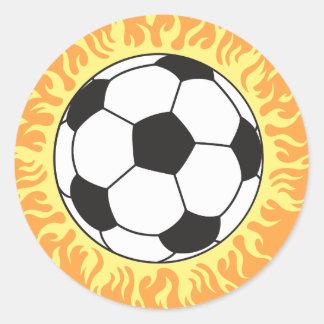 soccer ball flames design classic round sticker