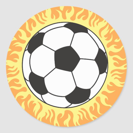soccer ball flames design classic round sticker