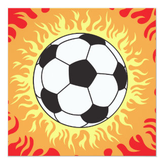 soccer ball flames design custom invites