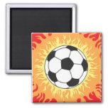 soccer ball flames design refrigerator magnet