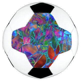Soccer Ball Floral Abstract Stained Glass