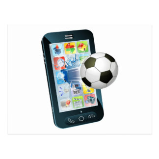 Soccer ball flying out of cell phone postcard