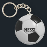"""Soccer Ball Football Personalized Keychain<br><div class=""""desc"""">Show your love for the world&#39;s favorite game with this keychain featuring soccer ball football texture. Personalize with ANY name,  team or nickname (Superstar,  Hero,  Baller,  etc.)</div>"""