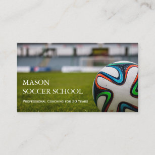 Football business cards zazzle soccer ball football school coach business card colourmoves