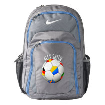 Soccer Ball Football W/Flags Personalized Backpack