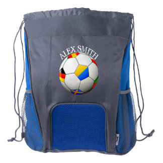 Soccer Ball Football W/Flags Personalized Backpack Drawstring Backpack