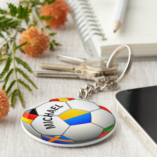 Soccer Ball Football W/Flags Personalized Keychain