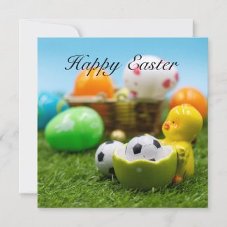 Soccer ball  for Easter Holiday in basket Card