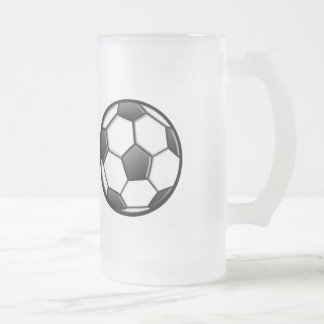 Soccer Ball Frosted Glass Beer Mug