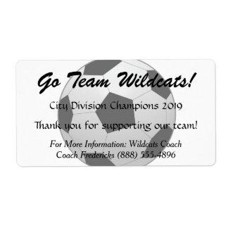 Soccer Ball Fundraiser Bottle Label
