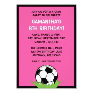 Soccer Ball Girl Pink Birthday Party 5x7 Paper Invitation Card