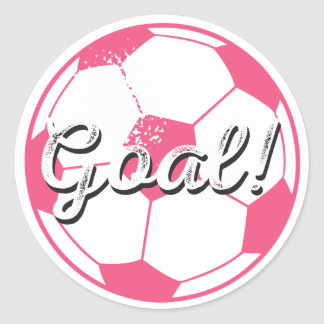 Soccer Ball Goal Stickers - Pink