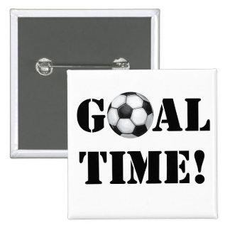 Soccer Ball, Goal Time! Pinback Button