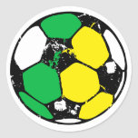 Soccer ball green and yellow round stickers