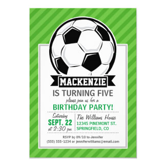 Soccer Ball; Green Stripes 5x7 Paper Invitation Card