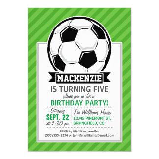 Soccer Ball; Green Stripes 5x7 Paper Invitation Card