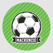 Soccer Ball; Green Stripes Classic Round Sticker