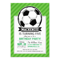 Soccer Ball; Green Stripes Invitation