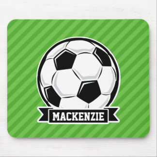 Soccer Ball; Green Stripes Mouse Pad