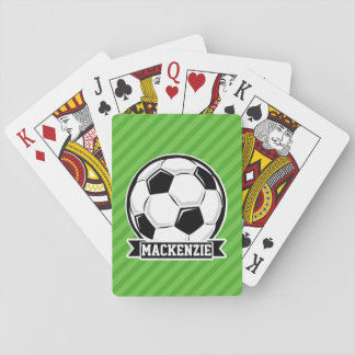 Soccer Ball; Green Stripes Playing Cards