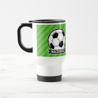 Soccer Ball; Green Stripes Travel Mug