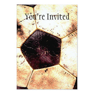 "Soccer Ball Grunge Style 5"" X 7"" Invitation Card"