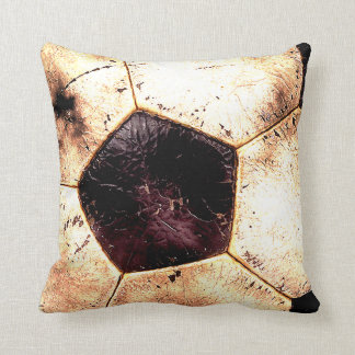 Soccer Ball Grunge Style Throw Pillow