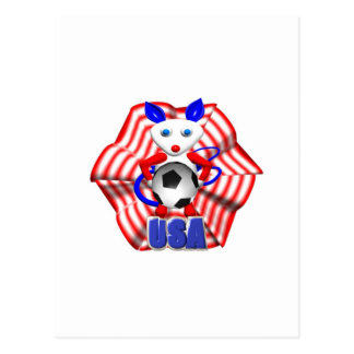 Soccer ball held by mouse that roared postcard