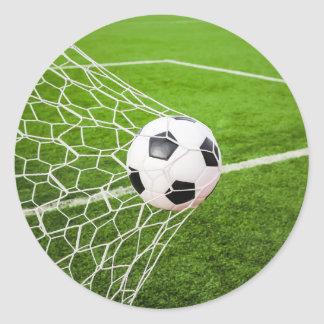 Soccer Ball Hitting Goal Net Classic Round Sticker