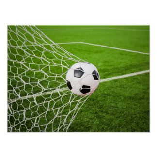 Soccer Ball Hitting Goal Net Poster