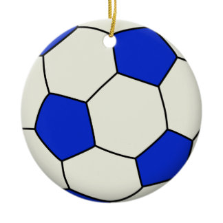 Soccer Ball in Blue Double-Sided Ceramic Round Christmas Ornament