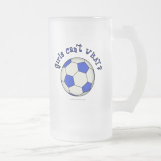 Soccer Ball in Blue Frosted Glass Beer Mug