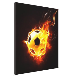Soccer Ball in Flames Canvas Print