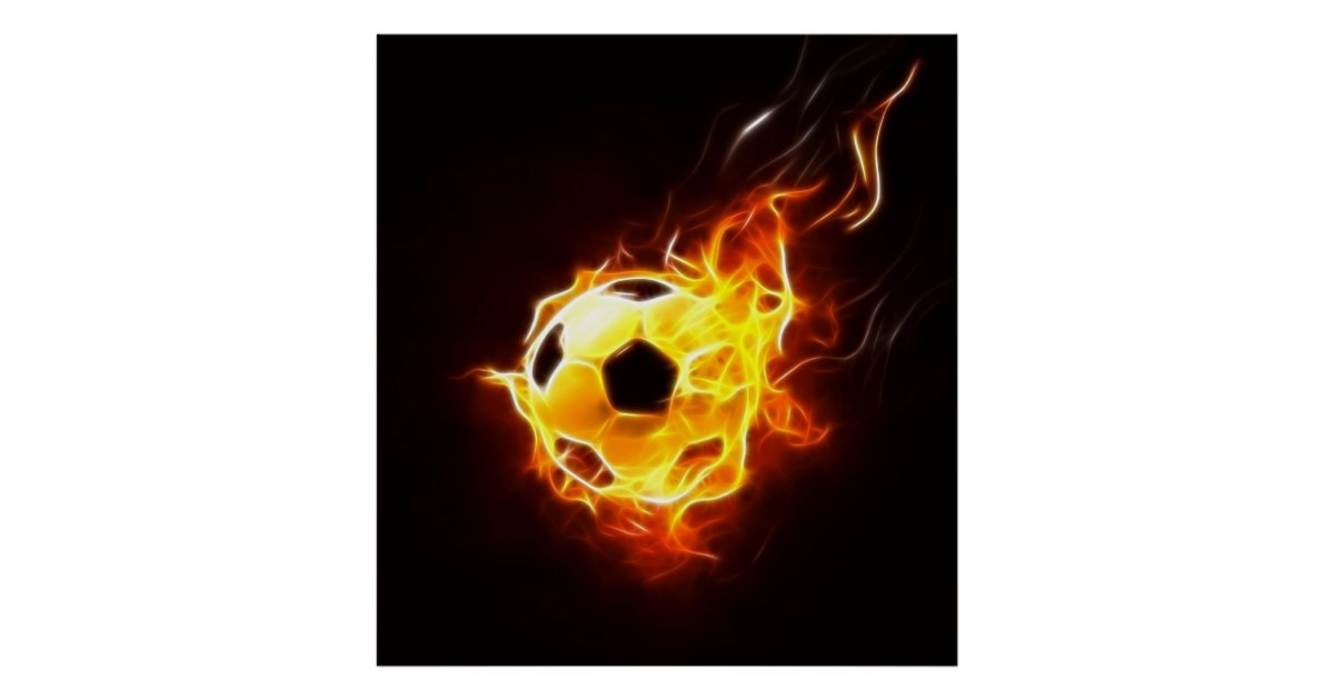 Soccer Ball In Flames Poster Zazzle Com