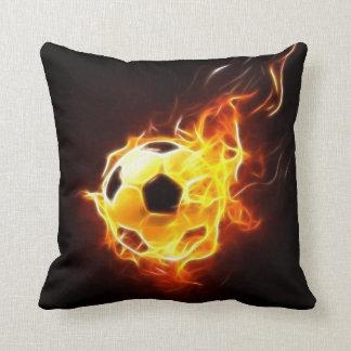 Soccer Ball In Flames Throw Pillow