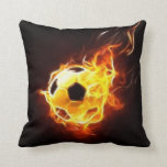 Soccer Ball In Flames Throw Pillows