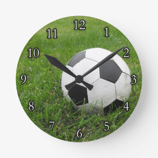 Soccer Ball in Grass Round Clock