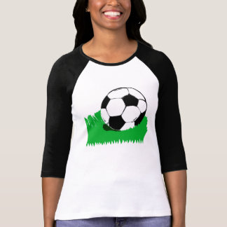 Soccer Ball in Grass Ladies Raglan T-Shirt