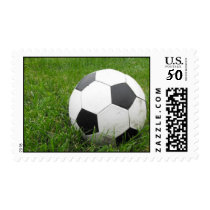 Soccer Ball in Grass Postage