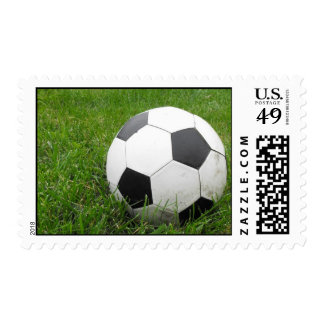 Soccer Ball in Grass Stamp