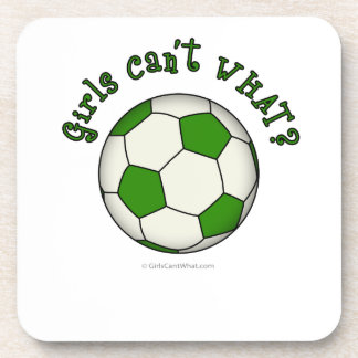 Soccer Ball in Green Beverage Coaster
