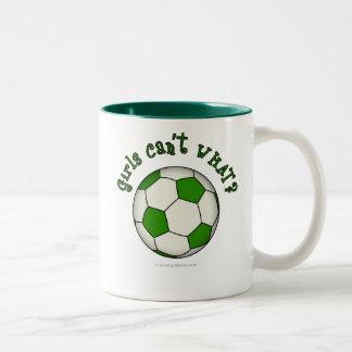 Soccer Ball in Green Two-Tone Coffee Mug