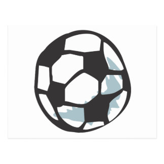 Soccer Ball in Hand drawn Style Postcard