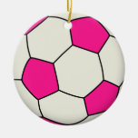 Soccer Ball in Pink Christmas Tree Ornaments