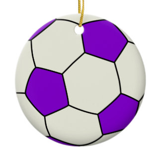 Soccer Ball in Purple Double-Sided Ceramic Round Christmas Ornament