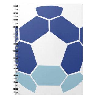 Soccer ball in reverse spiral notebook